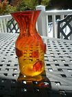 Blenko Amberina decanter or vase applied spots signed