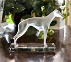 Lalique French Crystal Greyhound Large Figurine Mint Signed and Authentic