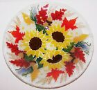 GORGEOUS RETIRED SIGNED PEGGY KARR FUSED ART GLASS AUTUMN SUNFLOWER 10 5 8 BOWL