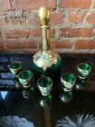 Hand Painted Gold Detail Italian Venetian Murano Decanter  Liqueur Glasses Set