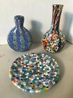 Three piece vintage millefiori glass