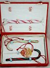 4 Hand Blown Glass Candy Ornaments in Box Cane Peppermint Twist Lollypop J266