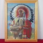 Vintage Paint By Number Native American Indian Warrior Chief Peace Pipe 11 x 14