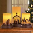Set of 3 LED Flameless Nativity Silhouette Scene Christmas Table Candles Decor