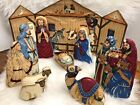 Fabric Nativity Set Christmas Baby Jesus Stable Decor Holiday 9 Piece