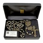 St MICHAEL THE ARCHANGEL VINTAGE ROSARY 8 10mm BLACK BEADS Creed Italy