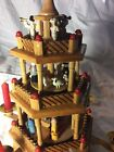 Vintage Three Tier German Wood Windmill Christmas Pyramid Nativity W Candles