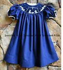 Smocked A Lot Girls Christmas Nativity Bishop Dress Navy Blue Manger Scene