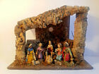 Vintage Italian made Christmas Nativity Scene w Wooden Stable  Resin Characters