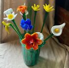 VINTAGE ASSORTED MURANO ART GLASS LONG STEM FLOWERS BOUQUET 19ITALIAN VENETIAN