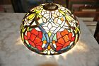 Vintage Stained Glass Lamp Shade 18 Wide 85  tall Floral Design