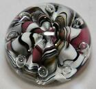 Vintage White Black  Pink Art Glass Round Paperweight Stamped Bob St Clair