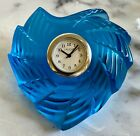 Lalique Blue St Valentine Heart Clock Brand New Unused Signed French Crystal