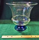 Mid Century Blue Footed Crackle Glass Blenko