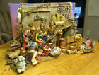 LARGE HOLIDAY WORKSHOP CERAMIC  WOOD NATIVITY SET 23 PIECES DELUXE w BOXBMA