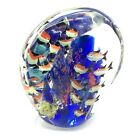 Glass Paperweight Multicolor 16 Fish Around Aquarium Reef Flattened Oval 4 lbs