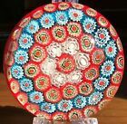 Vintage Murano Art Glass Millefiori Paperweight Beautiful Colors Excellent