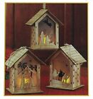 Set of 3 Nativity Scene Cut Out LED Lighted 5 IN Wood Carved Christmas Ornaments
