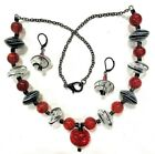 Venetian Murano Blown Glass Necklace Set  Red Black 22 inch Handcrafted