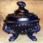 Viking Glass Cobalt Blue Candy Dish 3 footed and lid