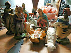 VINTAGE NATIVITY Scene Set MADE IN ITALY 9 PIECES Christmas Holiday Decor
