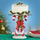 Glass Candy Cane Base Pedestal Serving Plate Stand Cake Christmas Holiday Decor