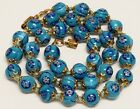 Vintage Hand Knotted Turquoise Venetian Millefiori 8mm Bead Necklace 165 ITALY