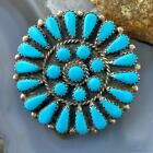 Sterling Silver Native American Turquoise Cluster Pendant Brooch For Women