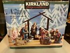 Kirkland Signature 75177 Nativity Set 14 Pieces With Wood Creche Base Christmas