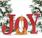 OT Outdoor Christmas Decoration Nativity Display Joy Yard Sign