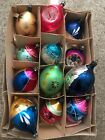 12 Vintage Poland Glass Christmas Ornaments Mica Hand Painted Indents