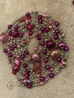 9 Antique Pink Silver Geometric Lg Mercury Glass Bead Xmas Feather Tree Garland