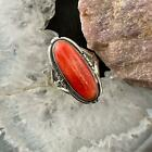 Native American Sterling Silver Spiny Oyster Oval Ring Size 8 For Women
