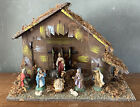 Vintage Nativity Scene Set Christmas Decoration Wooden Manger Large