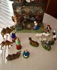 VINTAGE Christmas Nativity MANGER Set Scene 18 Figures Pieces Wood Manger