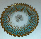 Antique Moser Art Glass Plate Blue to Clear Heavy Gold AC20693