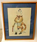The Cookerer Art Print Kitty Cat Cook with Blue Bird on Hat Nedobeck