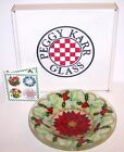 GORGEOUS SIGNED PEGGY KARR FUSED ART GLASS POINSETTIA BOWL IN BOX