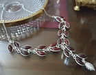 Red Chalcedony Glass Hand Made Fashion Necklace Silver Plated 19