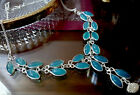 Green Chalcedony Glass Hand Made Fashion Necklace Silver Plated 19
