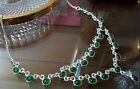 Green Quartz Glass Hand Made Fashion Necklace Silver Plated 21