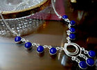 Cobalt Blue Chalcedony Hand Made Fashion Necklace Silver Plated 20