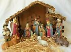 Vintage Nativity Set w Creche Porcelain 11 Piece 1993