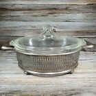 Vintage Clear Glass oval casserole dish PYREX w etched lid and metal carrier USA