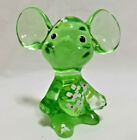 Fenton Hand painted Emerald Green Mouse Art Glass Figurine 3