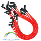 RED Spiral Core SPARK PLUG WIRES 45 DEGREE END For 396 427 454 502 BBC CHEVY HEI