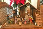 VINTAGE DEPOSE ITALY FONTANINI LARGE 9 PIECE NATIVITY SET in Wooden Manger