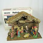 Sears Musical Nativity Set Christmas 7 pc Stable Creche Italy Silent Night