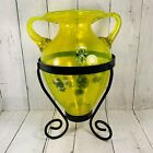 Teleflora Lime Yellow With Blue White Sommerso Glass Urn Shaped Vase Stand 20C