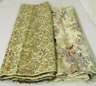 VINTAGE JAPANESE SILK PRINT BROCADE FABRIC 1940s FLORAL TANS BLUES PINKS 4+ YDS